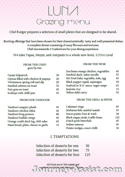 Menu Cafe Luna